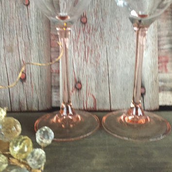 2 vintage Pink stemmed wine glasses, vintage glassware, wedding toasting glasses, vintage wine glasses, baby shower glasses, pink glassware