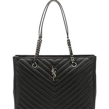 ONETOW Saint Laurent black matelass¨¦ leather large monogram shopping tote
