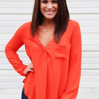 Hot Orange Blouse