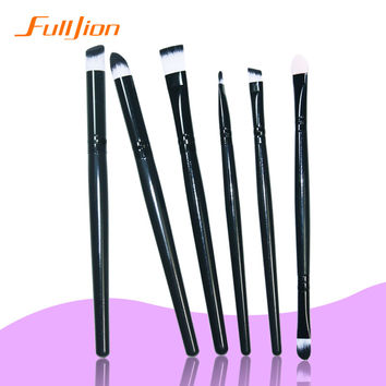Professional 6Pcs Makeup Brush Sets Tools Cosmetic Brush Foundation Eyeshadow Eyeliner Lip Brush Make Up Tool Black Color