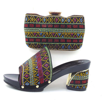Free Shipping Italian Women Shoes And Bags To Match Set Sale Beaded African Matching Shoes And Purse In BLACK HHY1-8