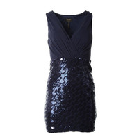 Laundry by Shelli Segal Womens Petites Sequined Sleeveless Cocktail Dress