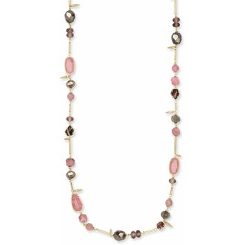 Kendra Scott: Ruth Gold Long Necklace In Pink Mix
