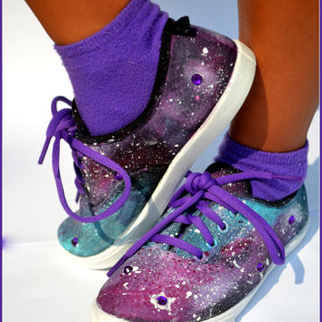 Hand Painted Sneakers, Galaxy Shoes/ Galaxy Sneakers,  Dr. Who Sneakers, Size 2-Children Sneakers, Purple Bedazzled Rhinestone Sneakers