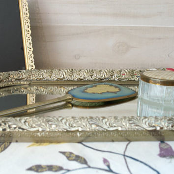 Large Mirrored Vanity Tray, Distressed Finish Perfume Tray, White Gold Makeup Tray