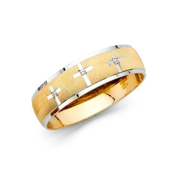 Religious Cross Men's Wedding Band 6MM - 14K Solid Gold