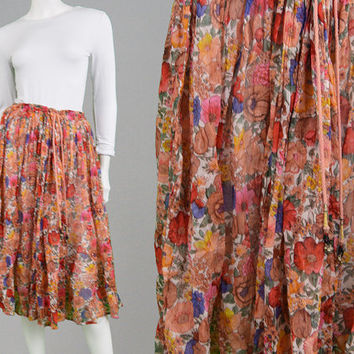 Vintage 70s INDIAN COTTON Gauze Skirt Ditsy Floral Print Gypsy Skirt Festival Skirt Medium Large Hippy Skirt Crinkle Ethnic Print 1970s