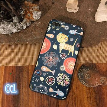 Fashion Colorful Flower Cat Bird Animal Case For iphone 7 Case Cute Cartoon Cat Leaf Fish Back Cover Cases For iphone7 6 6s Plus -03129