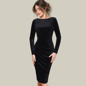 Autumn Winter Women Dress Velvet Long Sleeve Elegant Ruched Drape Vintage Dresses Sexy Casual Dress Vestidos Plus Size 339