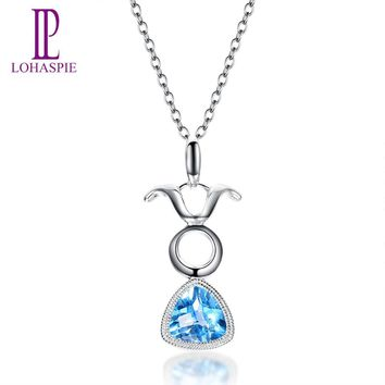 Lohaspie 0.86ct Natural Blue Topaz Solid 18k 750 White Gold Pendant Taurus Constellation Fine Jewelry Xmas Birthday Gift