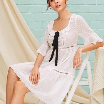 Contrast Bow Front Lace Insert Swiss Dot Smock Dress