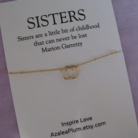 Two S I S T E R S Necklace. 2 Sisters Gift. GOLD Eternity Circle Necklace. 20th Birthday Sisters Gift. SISTERS 30th Birthday. Sister Gift