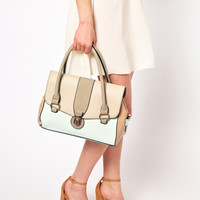 Oasis Clean Barrel Bag In Colourblock at asos.com