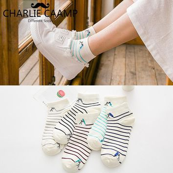 Striped Cotton Women Socks 2018 New Joker With Fashion Sweet Cartoon Pencil Small People Candy Color Low Help Ladies Socks D118