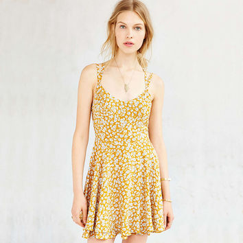 Floral Print Criss Cross Back Flounce Yellow Mini Dress