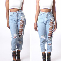 Fashion Cool Distressed Ripped Pants Trousers Jeans
