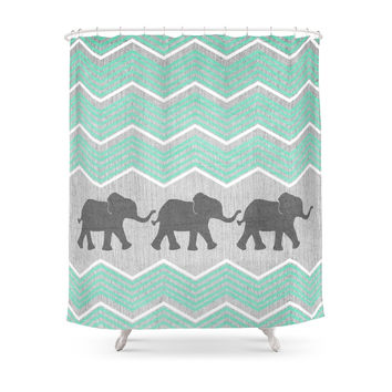 Society6 Three Elephants - Teal And White Chevron On Grey Shower Curtains