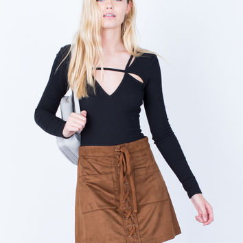 Suede Pocket Skirt