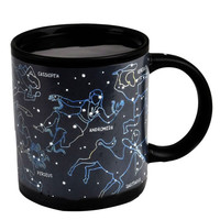 Creative Constellations Mugs Cup Novelty Heat Sensitive Activated Color Changing Ceramic office Cup Gift (Size: 8cm x 9cm, Color: Black)