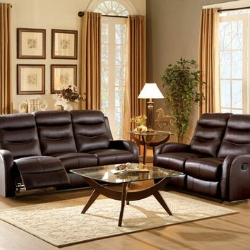 2 pc coppins collection contemporary style chocolate top grain leather match motion sofa and love seat set