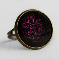 Purple Potion Ring in Antique Bronze - Bright Violet Purple Glitter Cocktail Ring