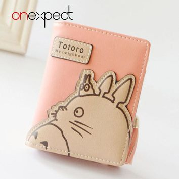 onexpect New Fashion Women Wallet Cartoon Small Leather Wallet Cute Totoro Tassels Zipper Clutch Coin Purse Card Holder