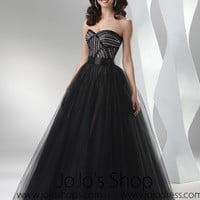 Black Strapless Tulle Formal Prom Ball Gown Dress HB2020A