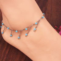 Boho Turquoise Beads Anklet Tassels Chains Barefoot Ankle Bracelet Foot Jewelry = 1928587140