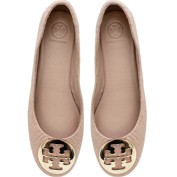 Tory Burch Goan Sand Quilted Nappa Leather Minnie Ballerinas