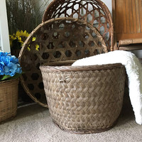 Antique Wood Woven Wicker Basket,  Large Primitive Ash Basket,  Rustic Blanket Storage Basket