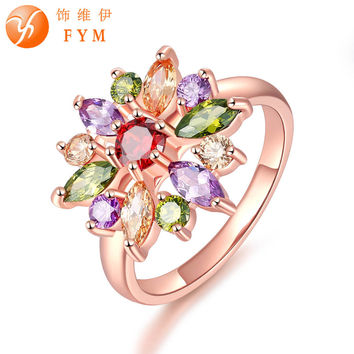 FYM Unique AAA Colorful Cubic Zircon Design Engagement Ring for Female Rose Gold Plated Wedding Women Rings Bijouterie RI0084