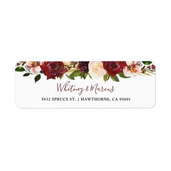 Rustic Burgundy Blush Floral Autumn Boho Label