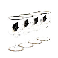Art Deco Silver Leaf & Etched Sherry Glasses