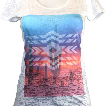 White Burnout Tee With Chill Desert Life Print & Tribal Design