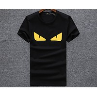 FENDI Little Monster Eye Print V-neck Short Sleeve T-Shirt F-A00FS-GJ black
