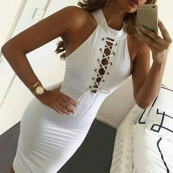 New Fashion Brand 2017 Summer Trend Plunge Cross Straps Front  Bandage Dresses One-piece Sexy Clubwear Halter White Dress