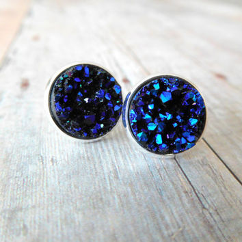 M I D N I G H T  - Blue Chunky Sparkle, Faux Druzy, Silver Plated Stud Earrings, 12mm