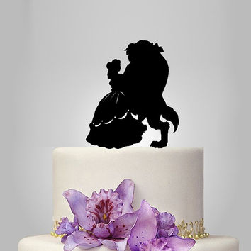 beauty and the beast silhouette cake topper, Unique Cake Topper, disney cake topper, disney princess cake topper