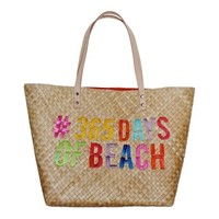 365 Beach Days Embroidered Straw Tote