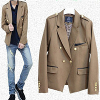 Double Breasted Gold Buttons Blazer