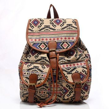 LMFON1O Day First Cute Geometry Travelling Bag School Bag Canvas College Backpack Daypack