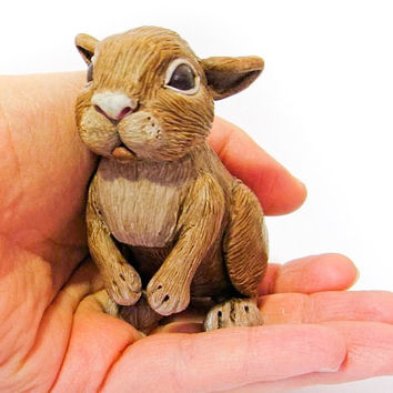Polymer Clay Bunny Rabbit OOAK Scale Miniature by MagicByLeah