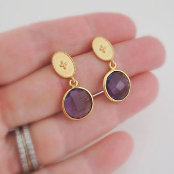 Amethyst Earrings - Gold Earrings - Gemstone Earrings - February Birthstone - Stud Earrings - Drop Earrings - handmade jewelry