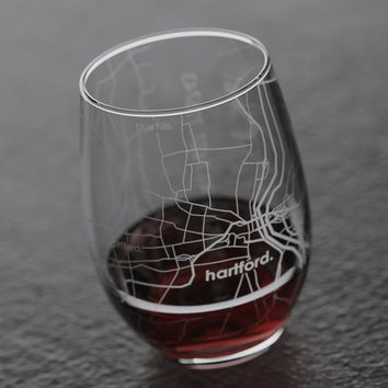 Hartford CT Map Stemless Wine Glass