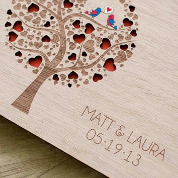 Custom Wedding guest book wood rustic wedding guest book album bridal shower engagement anniversary- Cutie Pop