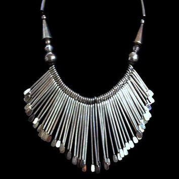 Vintage  Bib Necklace Tribal Necklace Boho Necklace Hippie Necklace Statement Necklace In Silver Tone