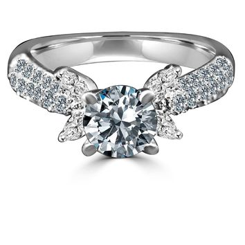 0.75 CT. (6mm) Intensely Radiant Diamond Veneer Round Centered Engagement/Wedding Sterling Silver Ring. 635R3228