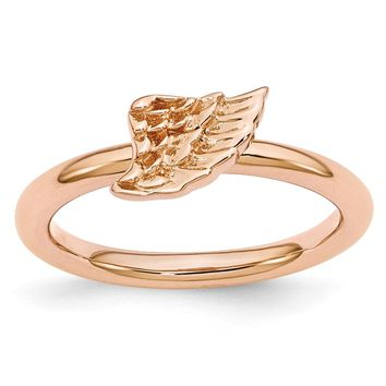 Rose Gold Tone Plated Sterling Silver Stackable 6mm Angel Wing Ring