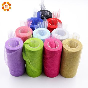 22mX15cm Roll Bling Crystal Tulle Organza Sheer Gauze Element For Table Runner And Home Garden Wedding Party Decoration