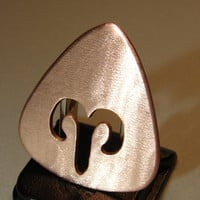 Copper Guitar Pick Handmade with Zodiac Sign